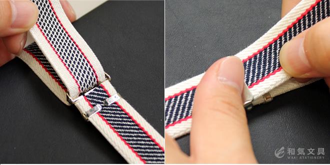 ベルトについたバックルで手帳にピッタリの長さに調整できます
