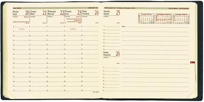 【手帳 2020年】クオバディス QUOVADIS 週間 バーチカル(時間軸タテ)16×16cm正方形 エグゼクティブノート クラブ