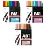 トンボ鉛筆 Tombow ABT 水性マ-カ- 12色セット ブラッシュ ツイン カラーペン