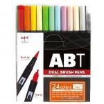 トンボ鉛筆 Tombow ABT 水性マ-カ- 24色セット ブラッシュ ツイン カラーペン