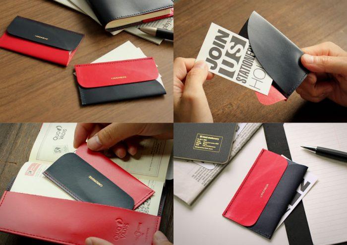 [プレスリリース]赤と濃紺のバイカラー名刺入れdunnと和気文具のコラボモデル