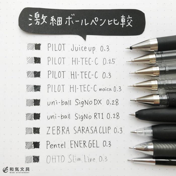手帳に小さく書きたい人の『激細ボールペン比較』